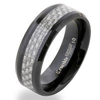 Crucible Black Plated Stainless Steel Carbon Fiber Band Ring