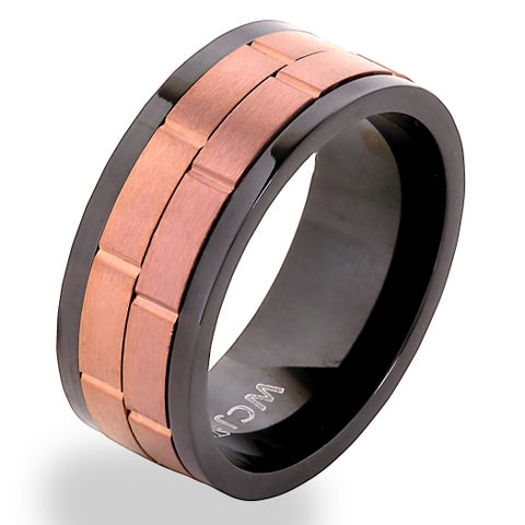 Men's Coffee on Black Stainless Steel Dual Spinner Ring