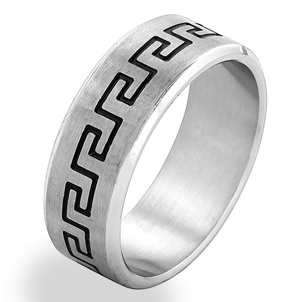 Men's Stainless Steel Etched Greek Key Band Ring - White