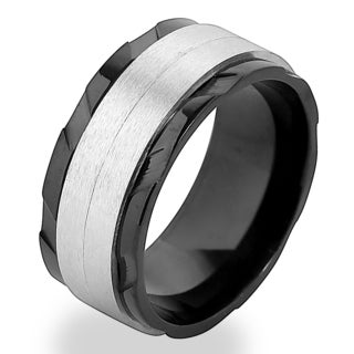Stainless Steel Men's Two-tone Dual Texture Spinner Ring - Black (5 options available)