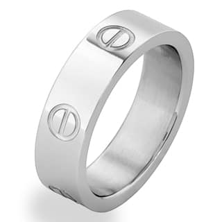 Men's Stainless Steel Polished Screw Design Band Ring - White