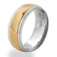 Men's Gold Plated Stainless Steel Ridged Edge Band Ring - White