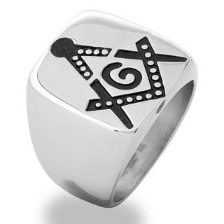 Men's Stainless Steel Masonic Ring - White (More options available)