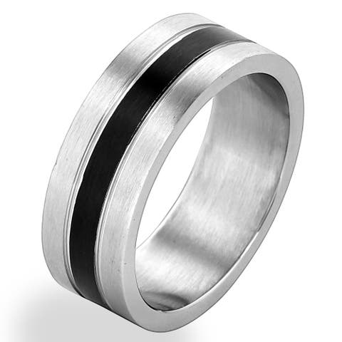 Men's Stainless Steel Brushed Black Striped Grooved Ring (8mm) - White