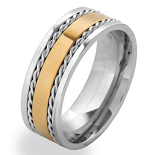 Men's Gold Plated Stainless Steel Twisted Rope Inlay Band Ring - White