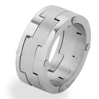 Men's Stainless Steel Brushed Laser-Cut Band Ring - White