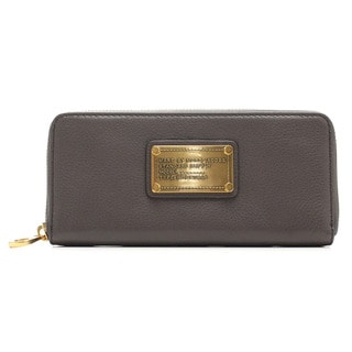 Marc By Marc Jacobs Classic Q Slim Zip Faded Aluminum Grey Wallet