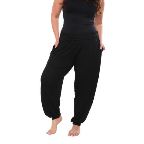 White Mark Women's Plus Size Solid Harem Pants
