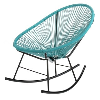 Handmade Bold Acapulco Rocking Chair, Indoor or Outdoor, Bright Blue (China)