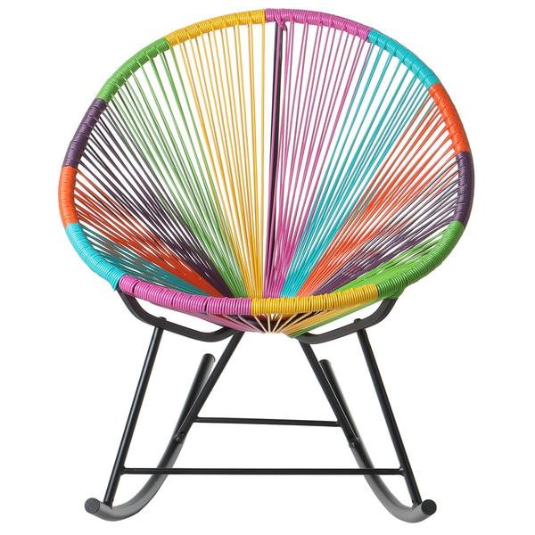 Handmade bold acapulco rocking chair indoor or outdoor multicolor