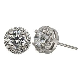 H Star Sterling Silver 1 1/2ct Diamagem Halo Earrings