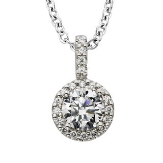 H Star Sterling Silver 1ct Diamagem Halo Necklace (1ct TW)