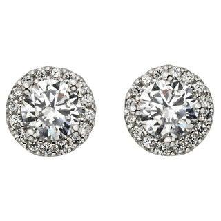 H Star Sterling Silver 2ct Diamagem Halo Earrings