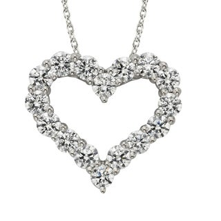 H Star Sterling Silver 1 1/5ct Diamagem Heart Necklace