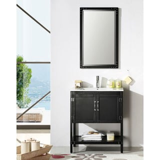 Legion Furniture 30-inch Matte Black Solid Wood Single Sink Vanity with Ceramic Top and Mirror