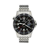 Xezo Air Men's  Luxury Swiss Limited Edition Automatic Watch. 3 Time Zones - silver
