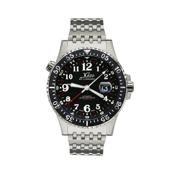 Shop xezo air men 39 s air commando d45 r luxury swiss limited edition automatic watch 3 time for Xezo watches