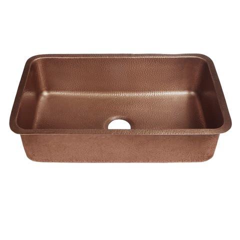 """Sinkology Orwell 30"""" Undermount Handmade Kitchen Sink in Antique Copper"""