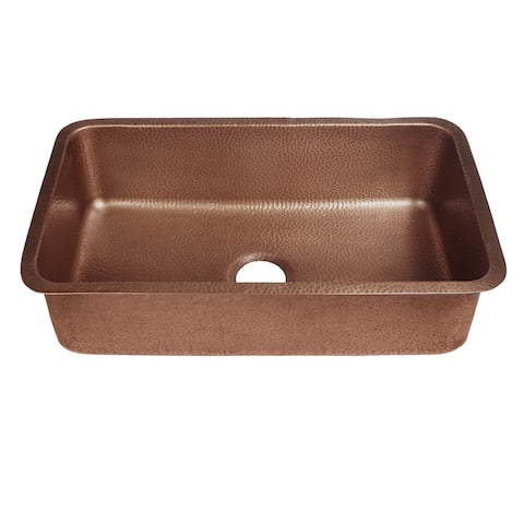 "Sinkology Orwell 30"" Undermount Handmade Kitchen Sink in Antique Copper - 30"" x 18"" x 8"""