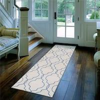 Hand-Stitched Jaiden Morrocan Trellis Wool Area Rug (2'6 x 8')