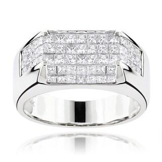 Luxurman 14k White Gold Men's 3 1/2ct TDW Diamond Pave Wedding Ring (G-H, VS1-VS2)
