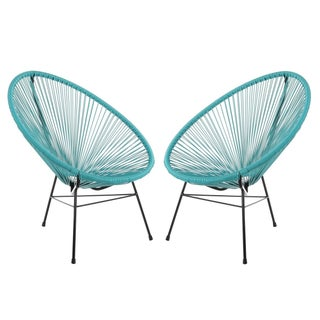 Handmade Set of 2 Acapulco Basket Lounge Chairs (China)