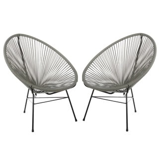 Set of 2 PoliVaz Woven Basket Lounge Chairs (China) (Option: Black)