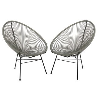 Set of 2 PoliVaz Woven Basket Lounge Chairs (China)