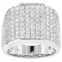 Luxurman 14k White Gold Men's Iced Out 3 1/2ct TDW Diamond Ring (G-H, SI1-SI2)