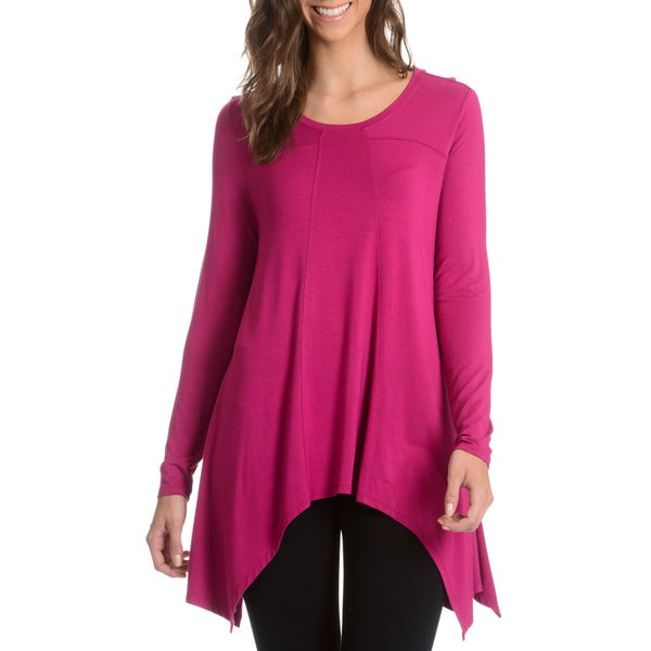 Chelsea and Theodore Women's Sharkbite Hem Knit Tunic Top ...