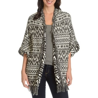 Chelsea and Theodore Women's Two-tone Fringe Cardigan