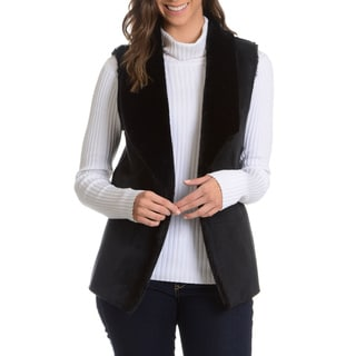 Chelsea and Theodore Women's Faux Suede and Faux Fur Vest