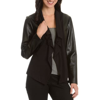 Chelsea and Theodore Women's Faux Leather with Knit Fashion Jacket