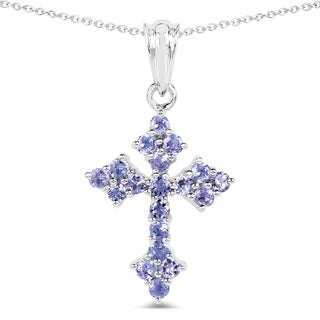 Malaika .925 Sterling Silver 1 1/3ct TGW Genuine Tanzanite Cross Shape Pendant