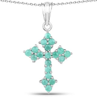 Olivia Leone .925 Sterling Silver 1 1/3ct TGW Genuine Emerald Cross Shape Pendant
