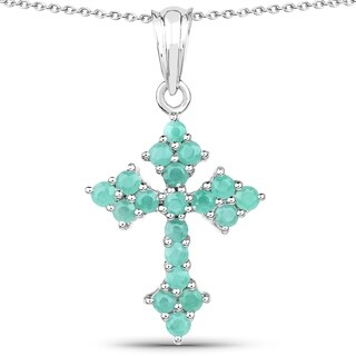 Olivia Leone .925 Sterling Silver 1 1/3ct TGW Genuine Emerald Cross Shape Pendant