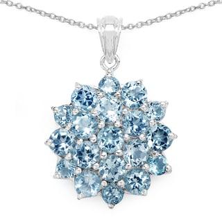 Malaika .925 Sterling Silver 9 7/8ct TGW TGW Genuine Blue Topaz Pendant