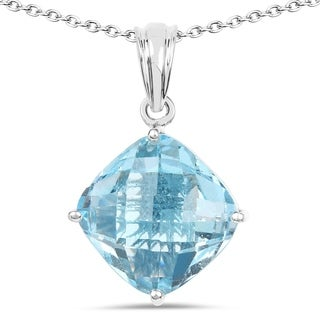 Olivia Leone .925 Sterling Silver 11 1/10ct TGW Genuine Blue Topaz Pendant