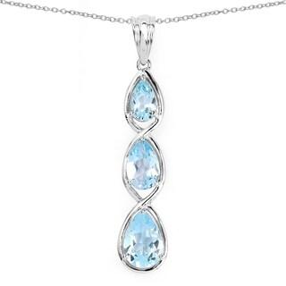 Olivia Leone .925 Sterling Silver 4 1/5ct TGW Genuine Blue Topaz Pendant