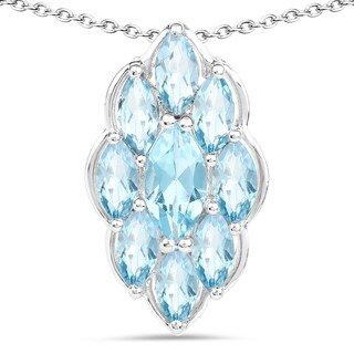 Olivia Leone .925 Sterling Silver 4 7/8ct TGW Genuine Swiss Blue Topaz Marquise Shape Pendant