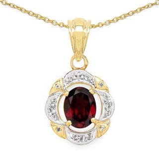 Malaika 14k Yellow Goldplated .925 Sterling Silver 2 2/5ct TGW Genuine Rhodolite and White Topaz Pendant