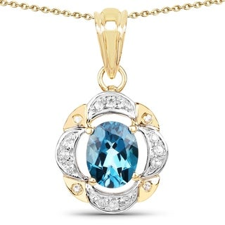 Olivia Leone 14k Yellow Goldplated .925 Sterling Silver 2 4/5ct TGW Genuine Blue Topaz and White Topaz Pe