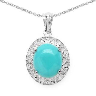 Olivia Leone .925 Sterling Silver 4 3/4ct TGW Genuine Turquoise Pendant