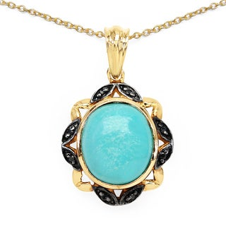 Malaika 14k Yellow Goldplated .925 Sterling Silver 4 7/8ct TGW Genuine Turquoise and Black Spinel Pendant