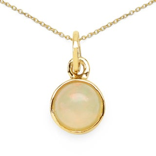 Olivia Leone 14k Yellow Goldplated .925 Sterling Silver 1 1/10ct TGW Genuine Opal Pendant