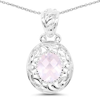 Olivia Leone .925 Sterling Silver 2 5/8ct TGW Genuine Rose Quartz Pendant