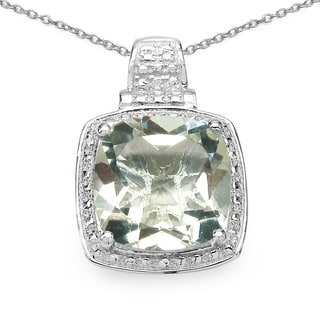 Malaika .925 Sterling Silver 6 1/3ct TGW Genuine Green Amethyst Cushion Shape Pendant
