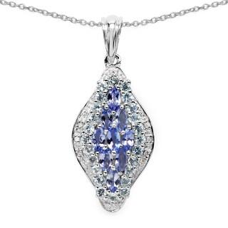 Malaika .925 Sterling Silver 2 1/2ct Genuine Tanzanite, Blue Topaz and White Diamond Pendant