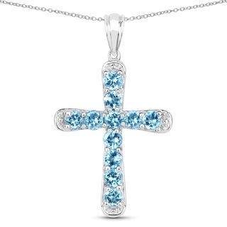 Olivia Leone .925 Sterling Silver 3 7/8ct TGW Genuine Swiss Blue Topaz Cross Shape Pendant