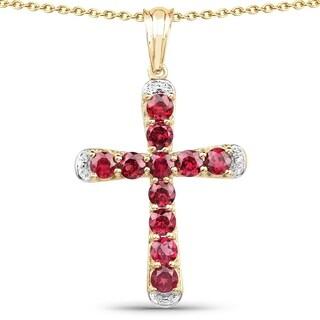 Olivia Leone 14k Yellow Goldplated .925 Sterling Silver 3 5/8ct TGW Genuine Rhodolite Cross Shape Pendant - Pink